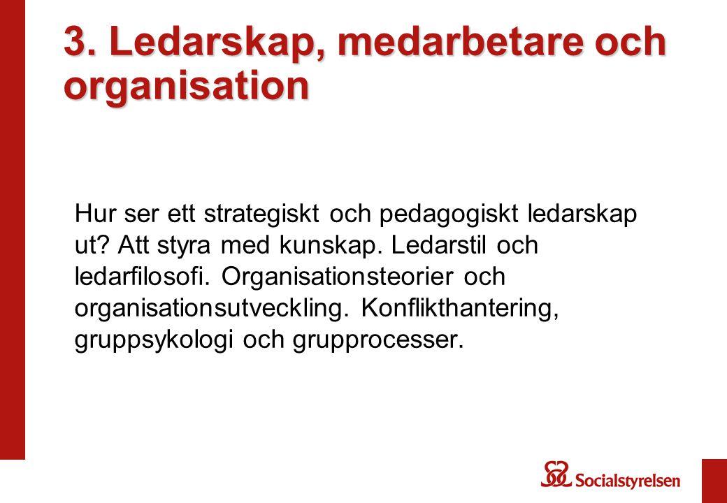 3. Ledarskap, medarbetare och organisation Hur ser ett strategiskt och pedagogiskt ledarskap ut.