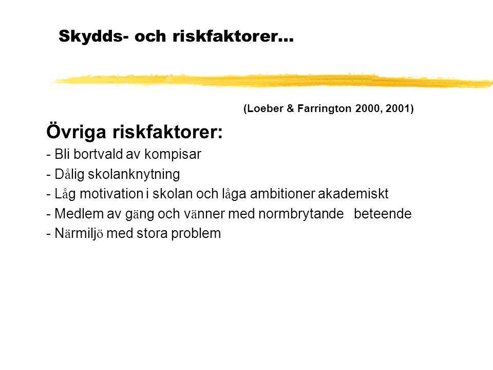 (Loeber & Farrington 2000, 2001) Övriga riskfaktorer: - Bli bortvald av kompisar - D å lig skolanknytning - L å g motivation i skolan och l å ga ambit