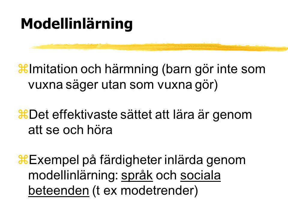 Modellinlärning zImitation och härmning (barn gör inte som vuxna säger utan som vuxna gör) zDet effektivaste sättet att lära är genom att se och höra