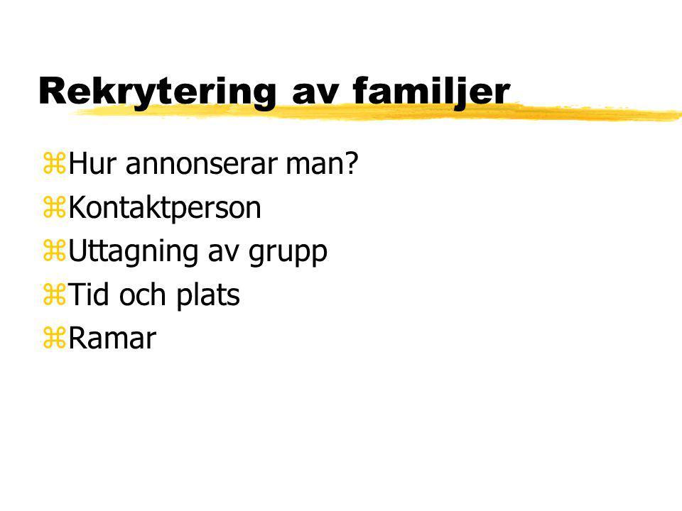 Rekrytering av familjer zHur annonserar man? zKontaktperson zUttagning av grupp zTid och plats zRamar