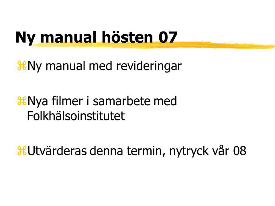 Ny manual hösten 07 zNy manual med revideringar zNya filmer i samarbete med Folkhälsoinstitutet zUtvärderas denna termin, nytryck vår 08