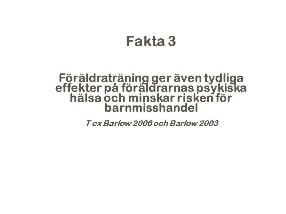 Fakta 3 Föräldraträning ger även tydliga effekter på föräldrarnas psykiska hälsa och minskar risken för barnmisshandel T ex Barlow 2006 och Barlow 200