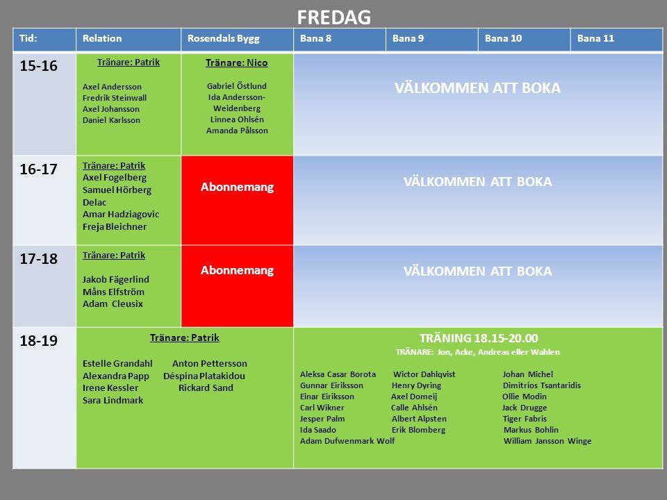 16-17 17-18 18-19 19-20 20-21 21-22 Tid:RelationRosendals ByggBana 8Bana 9Bana 10Bana 11 15-16 Tränare: Patrik Axel Andersson Fredrik Steinwall Axel J
