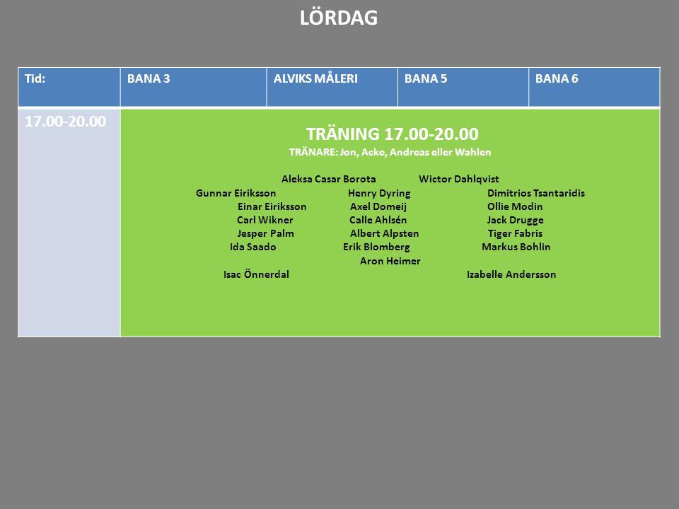 20-21 21-22 Tid:BANA 3ALVIKS MÅLERIBANA 5BANA 6 17.00-20.00 TRÄNING 17.00-20.00 TRÄNARE: Jon, Acke, Andreas eller Wahlen Aleksa Casar Borota Wictor Da