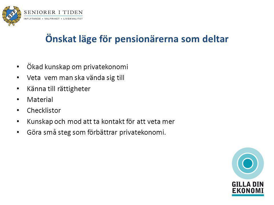 Önskat läge för pensionärerna som deltar Ökad kunskap om privatekonomi Veta vem man ska vända sig till Känna till rättigheter Material Checklistor Kunskap och mod att ta kontakt för att veta mer Göra små steg som förbättrar privatekonomi.