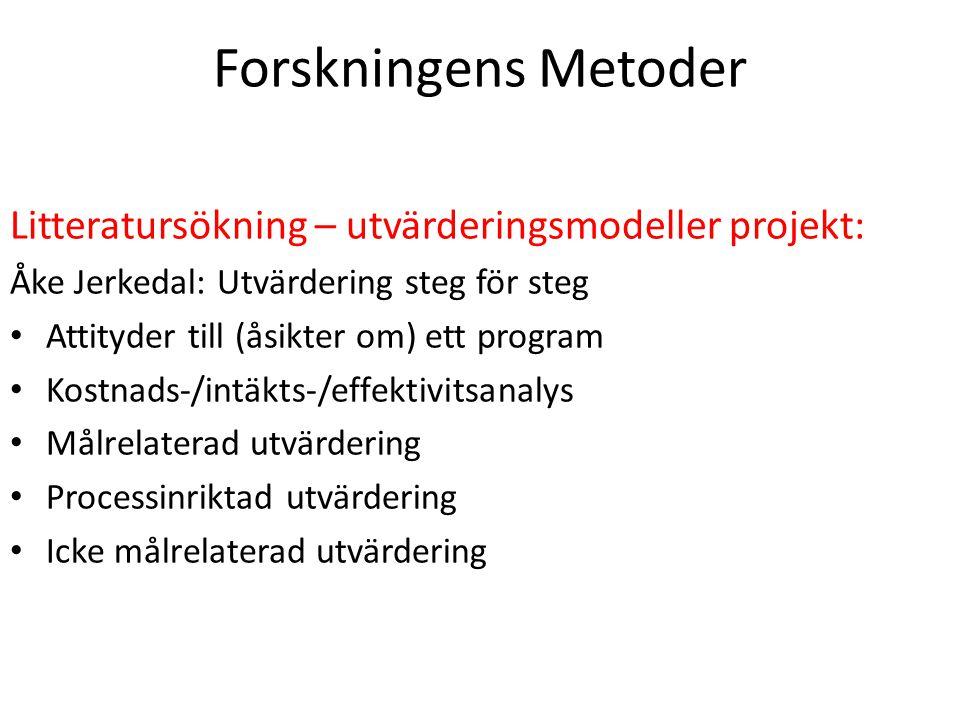 Forskningens Metoder Litteratursökning – utvärderingsmodeller projekt: Åke Jerkedal: Utvärdering steg för steg Attityder till (åsikter om) ett program