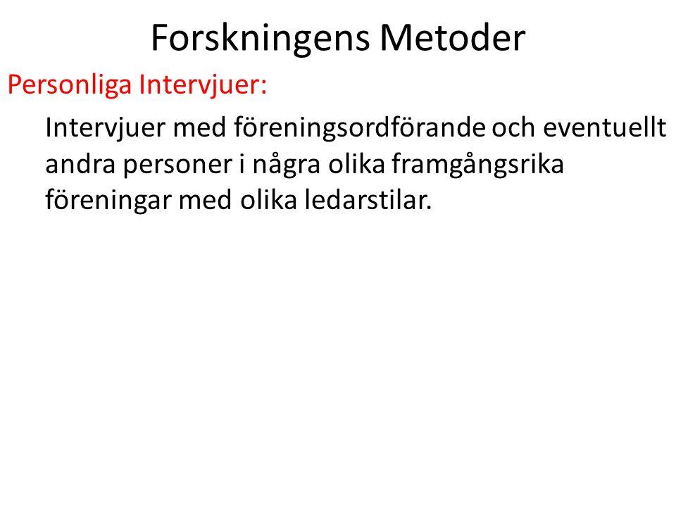 Forskningens Metoder Personliga Intervjuer: Intervjuer med föreningsordförande och eventuellt andra personer i några olika framgångsrika föreningar me