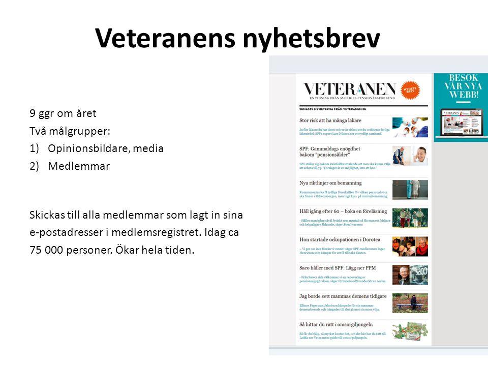 Veteranens nyhetsbrev 9 ggr om året Två målgrupper: 1)Opinionsbildare, media 2)Medlemmar Skickas till alla medlemmar som lagt in sina e-postadresser i