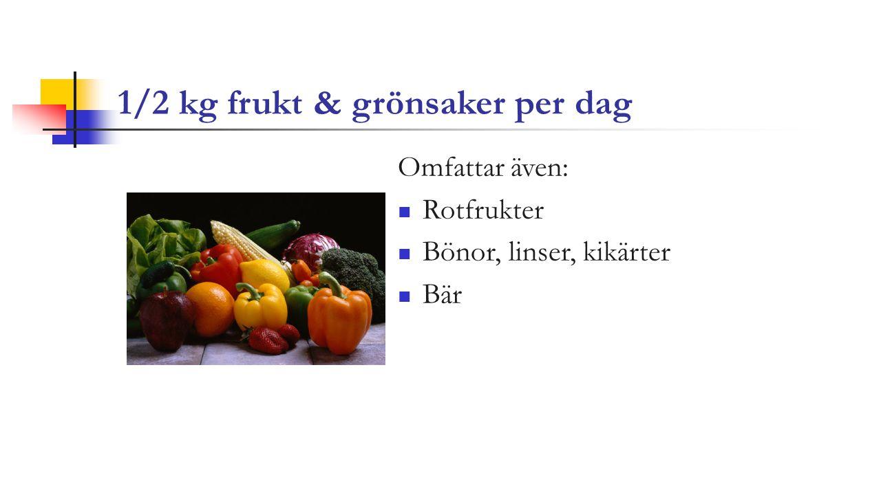 1/2 kg frukt & grönsaker per dag Omfattar även: Rotfrukter Bönor, linser, kikärter Bär