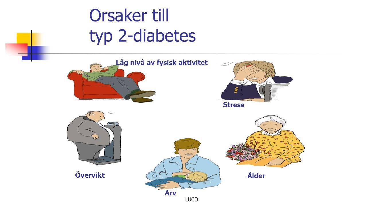LUCD. Orsaker till typ 2-diabetes Låg nivå av fysisk aktivitet Stress Ålder Arv Övervikt