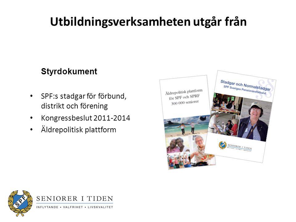 Utbildningsverksamheten utgår från Styrdokument SPF:s stadgar för förbund, distrikt och förening Kongressbeslut 2011-2014 Äldrepolitisk plattform