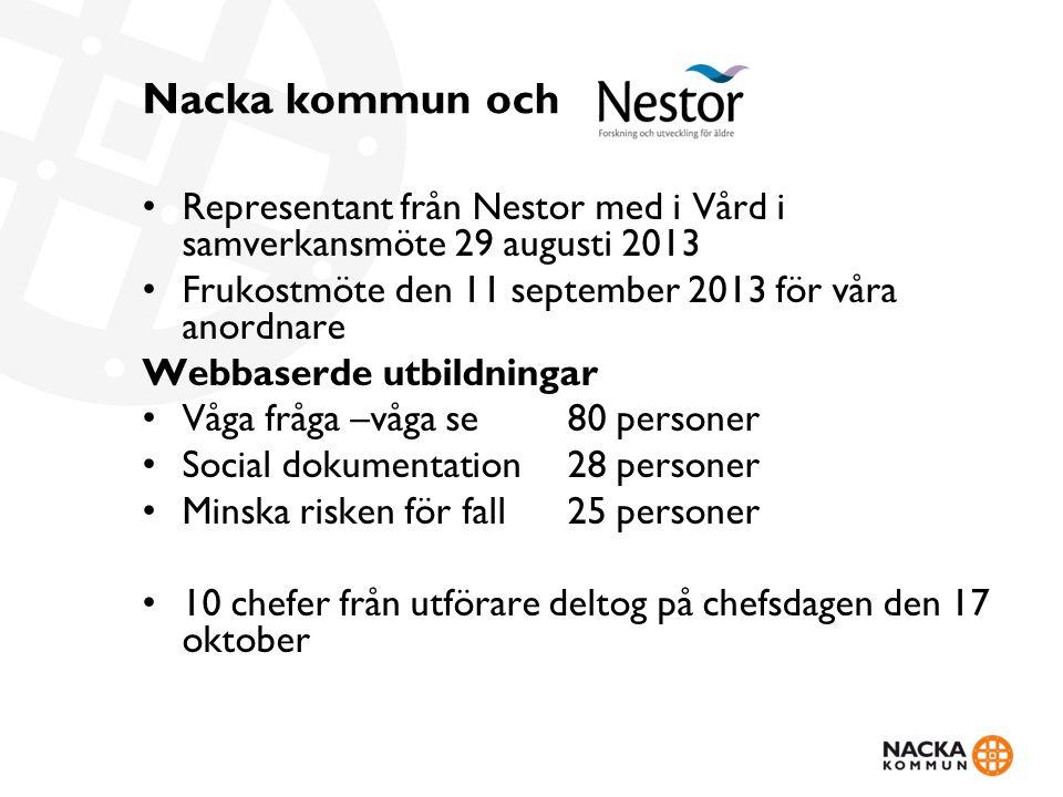 Nacka kommun och Representant från Nestor med i Vård i samverkansmöte 29 augusti 2013 Frukostmöte den 11 september 2013 för våra anordnare Webbaserde