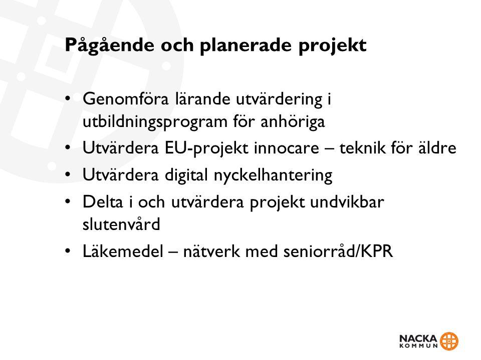 Pågående och planerade projekt Genomföra lärande utvärdering i utbildningsprogram för anhöriga Utvärdera EU-projekt innocare – teknik för äldre Utvärd