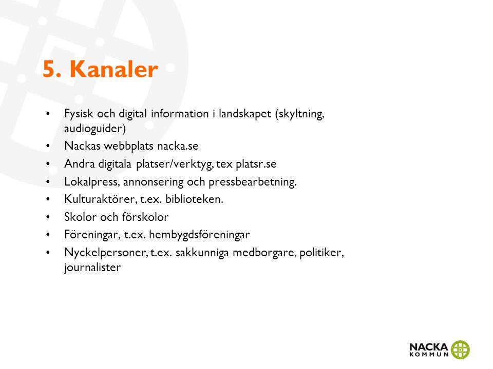 5. Kanaler Fysisk och digital information i landskapet (skyltning, audioguider) Nackas webbplats nacka.se Andra digitala platser/verktyg, tex platsr.s