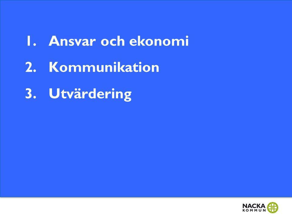 1.Ansvar och ekonomi 2.Kommunikation 3.Utvärdering