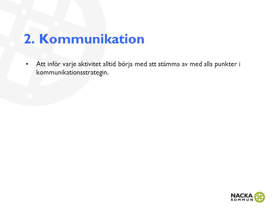 2. Kommunikation Att inför varje aktivitet alltid börja med att stämma av med alla punkter i kommunikationsstrategin.