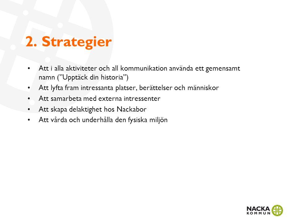 """2. Strategier Att i alla aktiviteter och all kommunikation använda ett gemensamt namn (""""Upptäck din historia"""") Att lyfta fram intressanta platser, ber"""