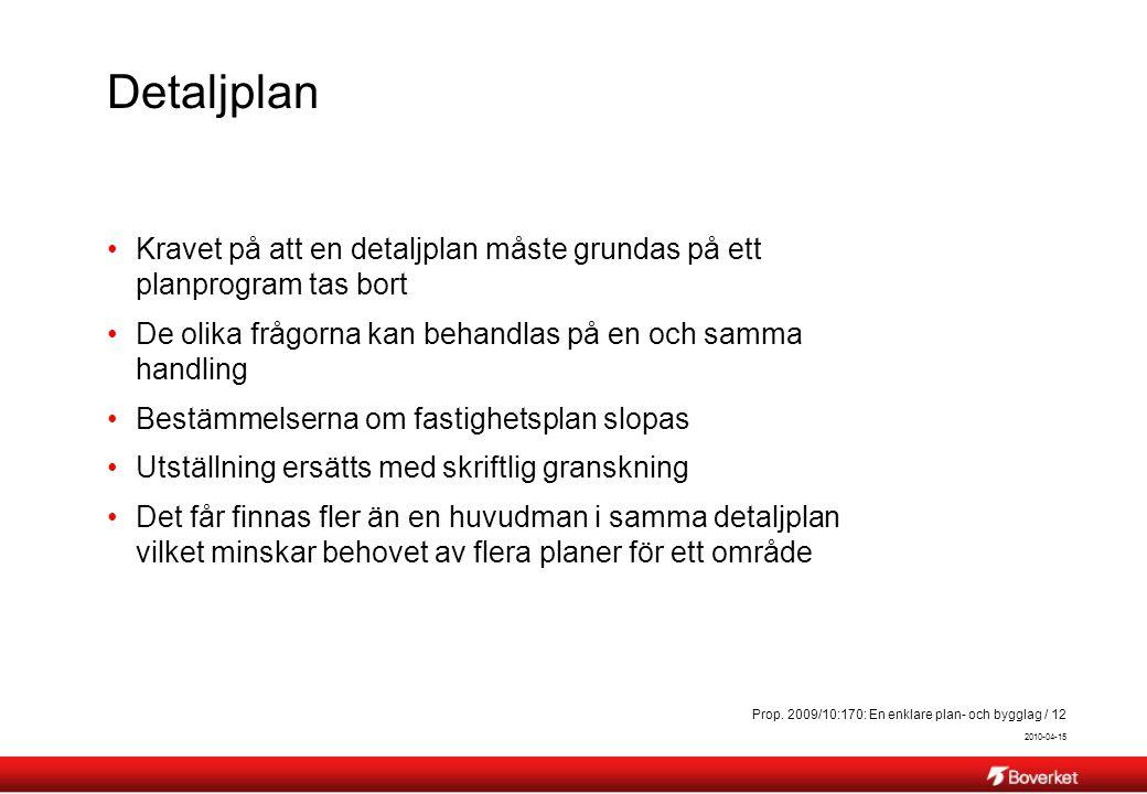 2010-04-15 Prop. 2009/10:170: En enklare plan- och bygglag / 12 Detaljplan Kravet på att en detaljplan måste grundas på ett planprogram tas bort De ol
