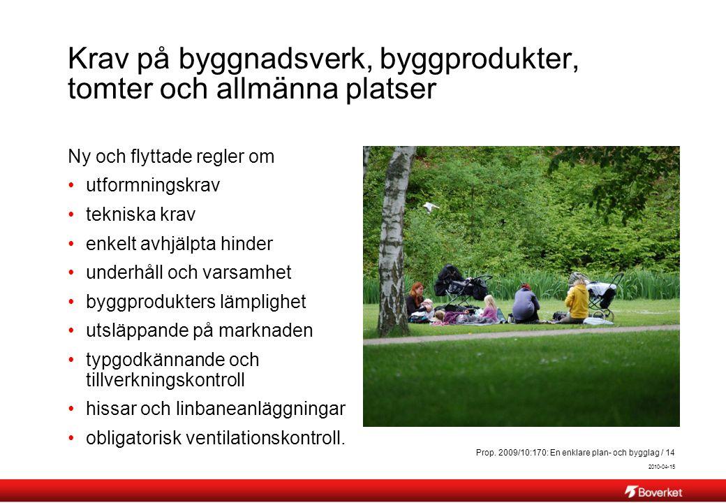 2010-04-15 Prop. 2009/10:170: En enklare plan- och bygglag / 14 Krav på byggnadsverk, byggprodukter, tomter och allmänna platser Ny och flyttade regle