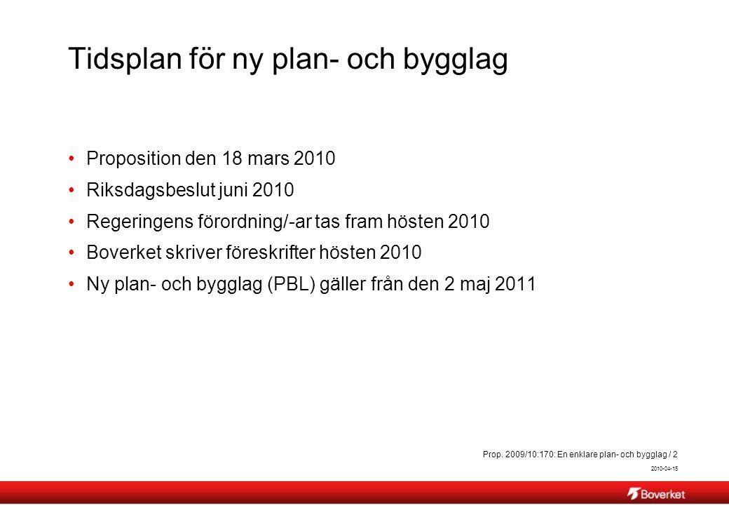 2010-04-15 Prop. 2009/10:170: En enklare plan- och bygglag / 2 Tidsplan för ny plan- och bygglag Proposition den 18 mars 2010 Riksdagsbeslut juni 2010