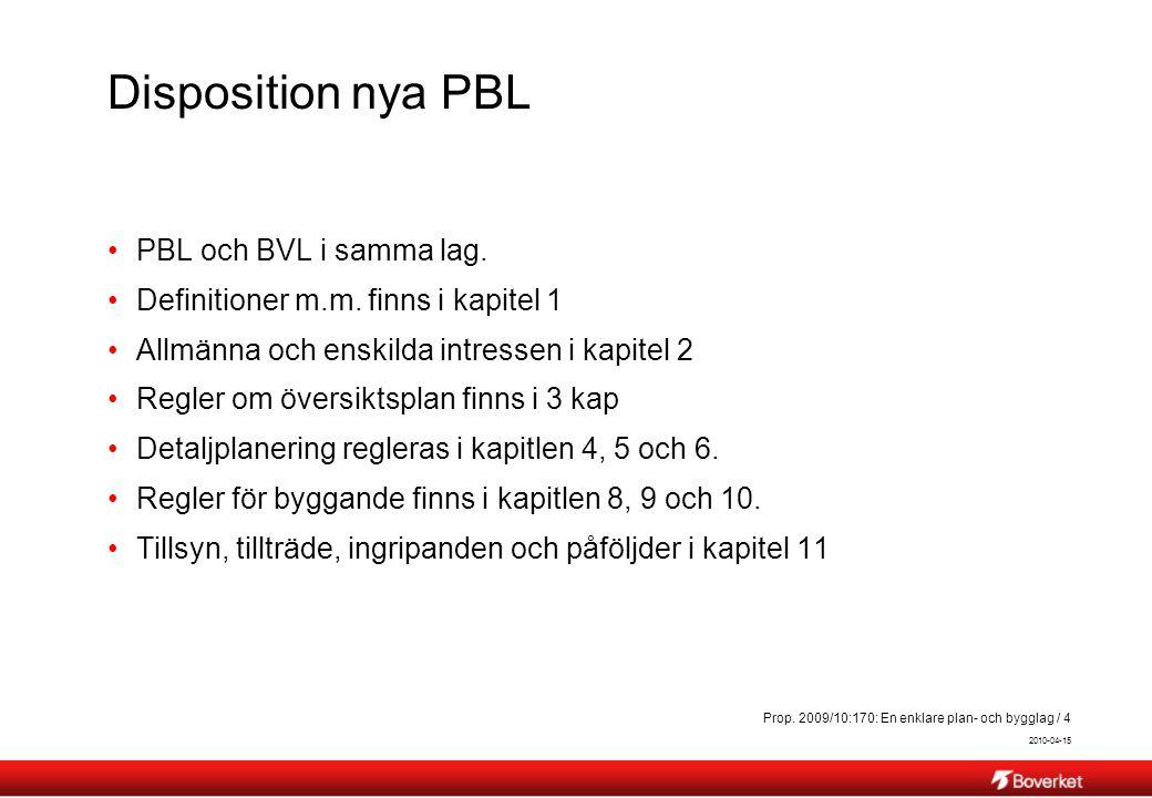 2010-04-15 Prop. 2009/10:170: En enklare plan- och bygglag / 4 Disposition nya PBL PBL och BVL i samma lag. Definitioner m.m. finns i kapitel 1 Allmän