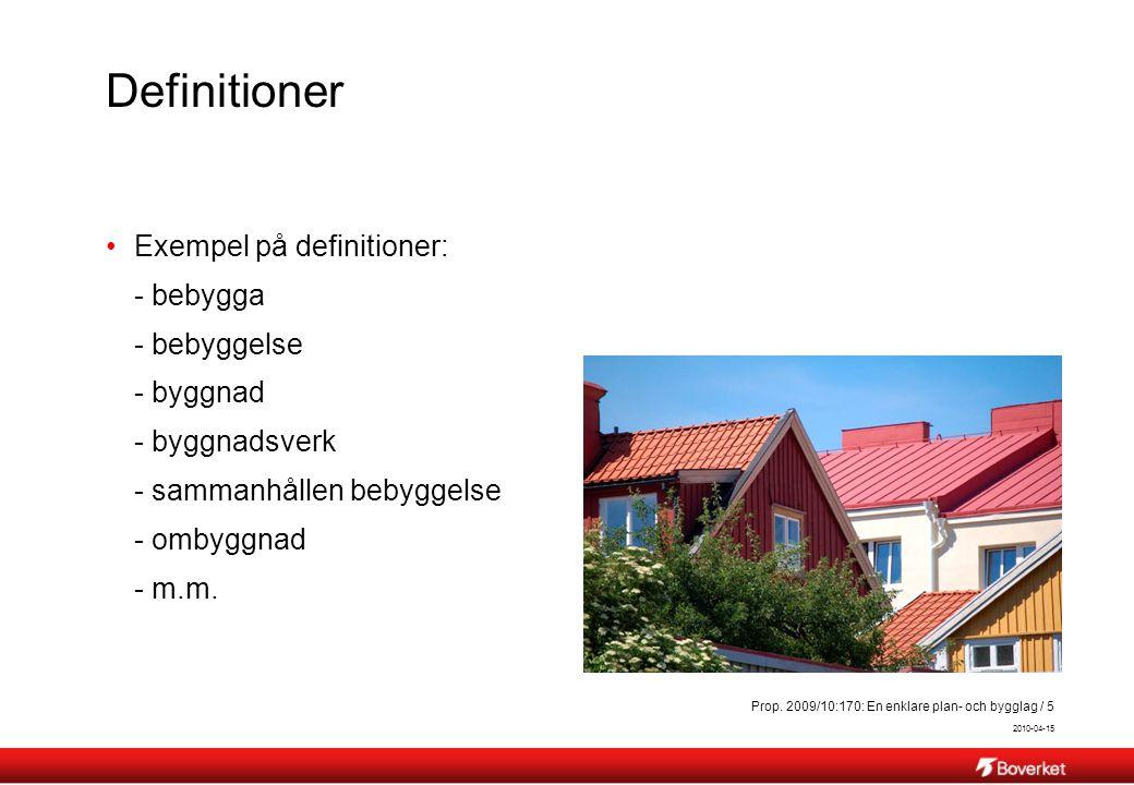2010-04-15 Prop. 2009/10:170: En enklare plan- och bygglag / 5 Definitioner Exempel på definitioner: - bebygga - bebyggelse - byggnad - byggnadsverk -