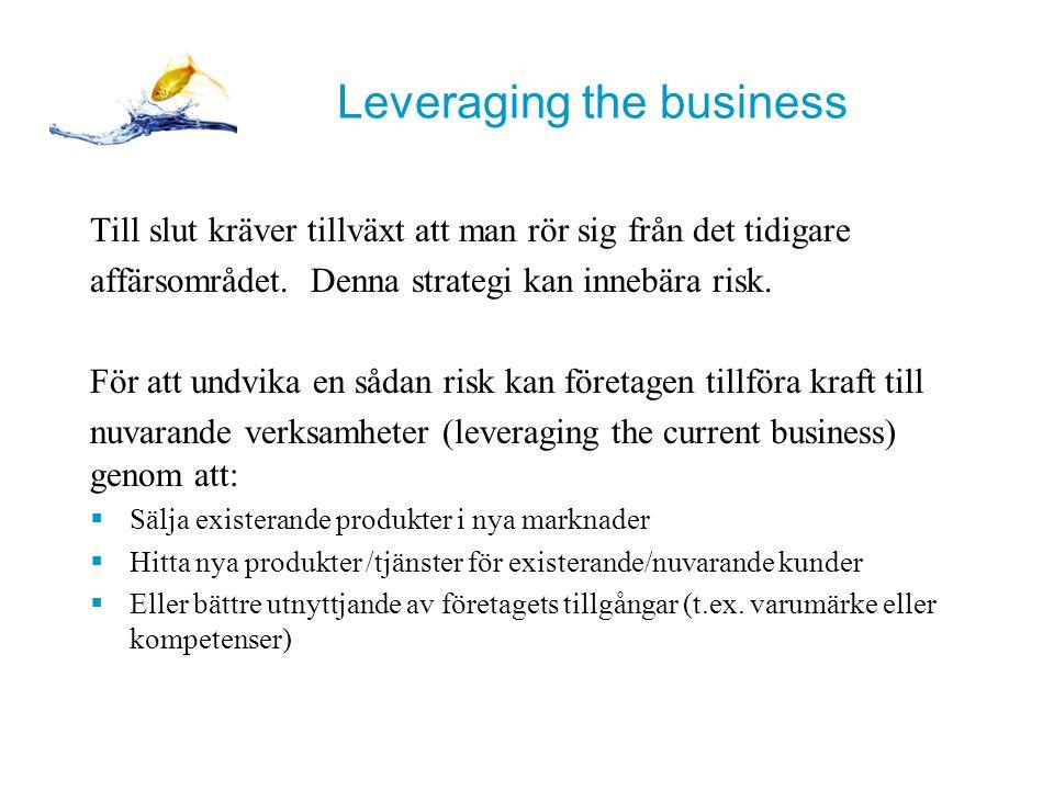Leveraging the business Till slut kräver tillväxt att man rör sig från det tidigare affärsområdet.