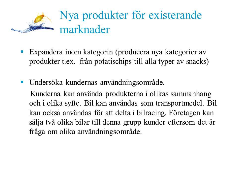 PPT 11-11 Nya produkter för existerande marknader  Expandera inom kategorin (producera nya kategorier av produkter t.ex.