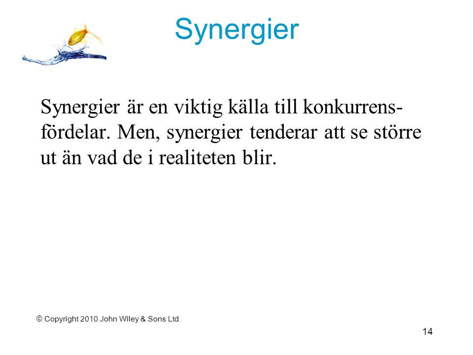 Synergier Synergier är en viktig källa till konkurrens- fördelar.