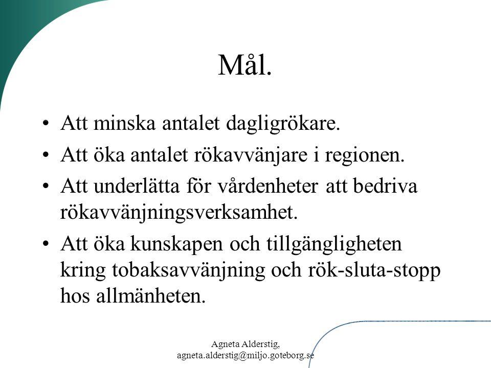 Agneta Alderstig, agneta.alderstig@miljo.goteborg.se Mål. Att minska antalet dagligrökare. Att öka antalet rökavvänjare i regionen. Att underlätta för