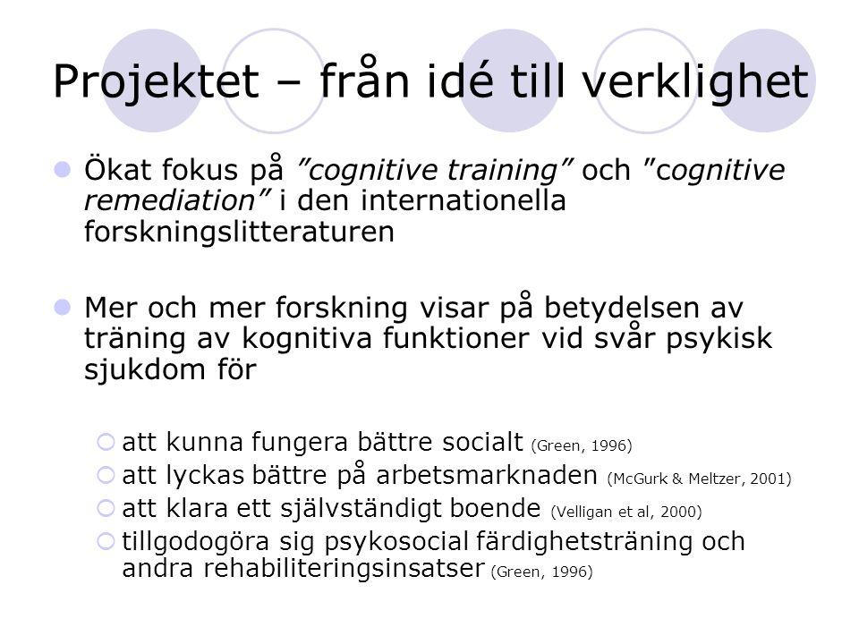 """Projektet – från idé till verklighet Ökat fokus på """"cognitive training"""" och """"cognitive remediation"""" i den internationella forskningslitteraturen Mer o"""