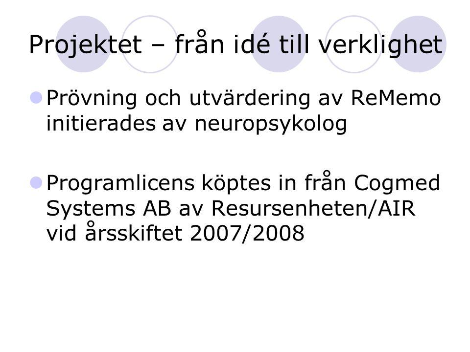 Projektet – från idé till verklighet Prövning och utvärdering av ReMemo initierades av neuropsykolog Programlicens köptes in från Cogmed Systems AB av