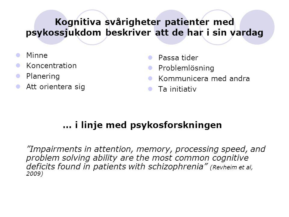 Kognitiva svårigheter patienter med psykossjukdom beskriver att de har i sin vardag Minne Koncentration Planering Att orientera sig Passa tider Proble