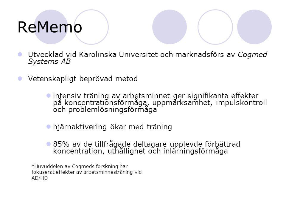 ReMemo Träning 5 dagar/veckan i 5 veckor = 25 tillfällen Sessionerna är 30-45 minuter långa Innehåller 13 visuospatiala och fonologiska övningar Svårighetsgrad anpassas automatiskt efter den tränandes nivå Programmet innehåller ett statistikprogram och räknar ut ett träningsindex Regelbunden uppföljning av och tillgång till coach