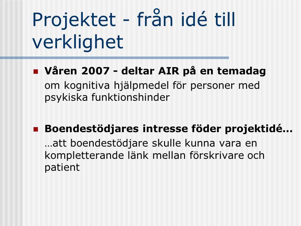 Projektets upplägg 10 boendestödjare och 10 patienter Ett personligt lån av Handi/Handifon Under projekttiden.