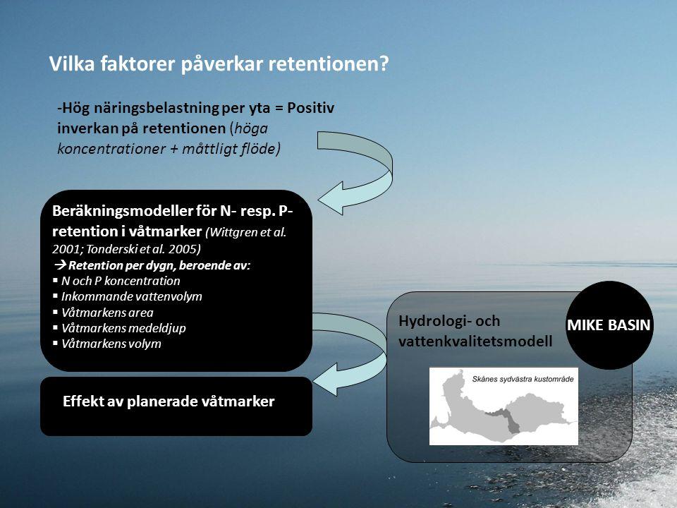 -Hög näringsbelastning per yta = Positiv inverkan på retentionen (höga koncentrationer + måttligt flöde) Beräkningsmodeller för N- resp.