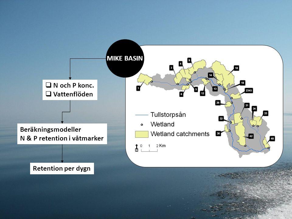 Beräkningsmodellen för P-retention i våtmarker C = fosforkoncentrationen i våtmarken (mg/L) V = våtmarkens volym (m3) A = våtmarksareal (m2) Cin = fosforkoncentrationen i inkommande vatten (mg/L) Qin = inkommande vattenvolym (m3/d) Msed = sedimentation av tot-P (g/d) Mrel = frigivning av tot-P (g/d) T30 = 30 dagars luftmedeltemperatur (˚C) ∆t = tidssteg (d) ksed = sedimentationskoefficient krel = frigivningskoefficient