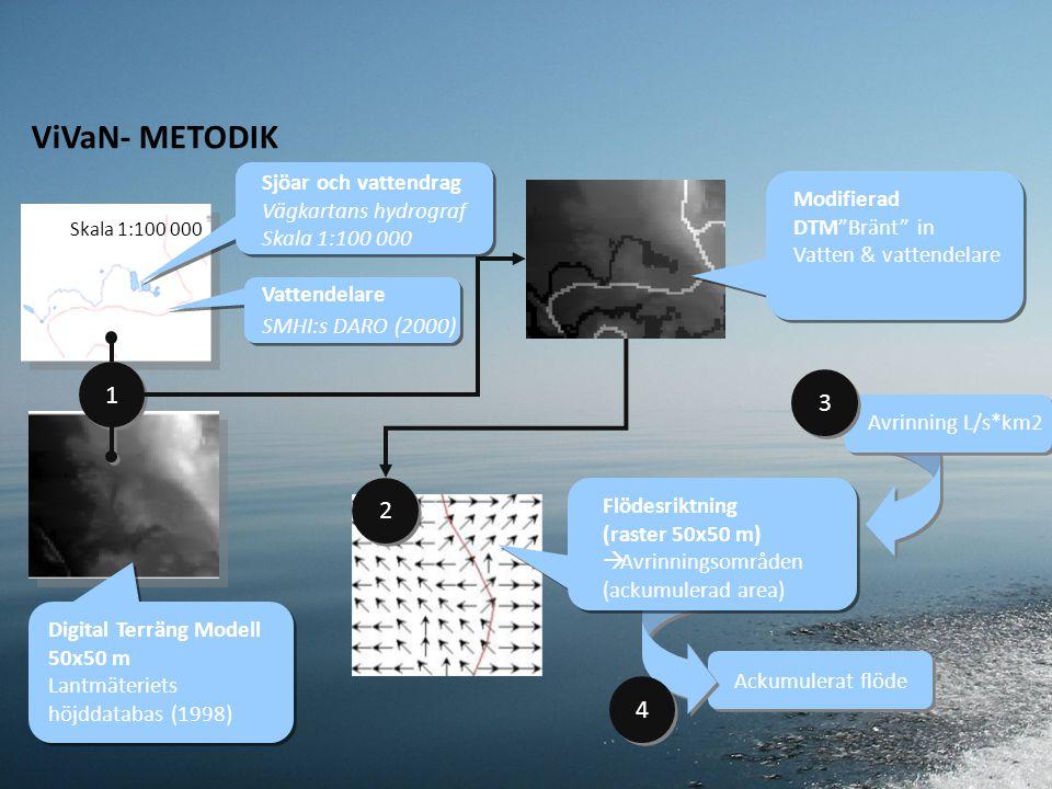 Sjöar och vattendrag Vägkartans hydrograf Skala 1:100 000 Vattendelare SMHI:s DARO (2000) Digital Terräng Modell 50x50 m Lantmäteriets höjddatabas (1998) 1 1 Modifierad DTM Bränt in Vatten & vattendelare 2 2 Ackumulerat flöde Flödesriktning (raster 50x50 m)  Avrinningsområden (ackumulerad area) Avrinning L/s*km2 3 3 ViVaN- METODIK 4 4 Skala 1:100 000
