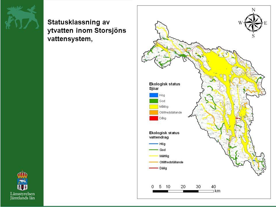 Statusklassning av ytvatten inom Storsjöns vattensystem,