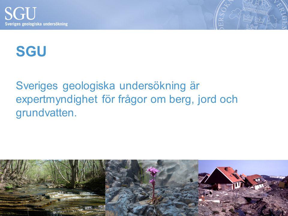 Sveriges geologiska undersökning är expertmyndighet för frågor om berg, jord och grundvatten. SGU
