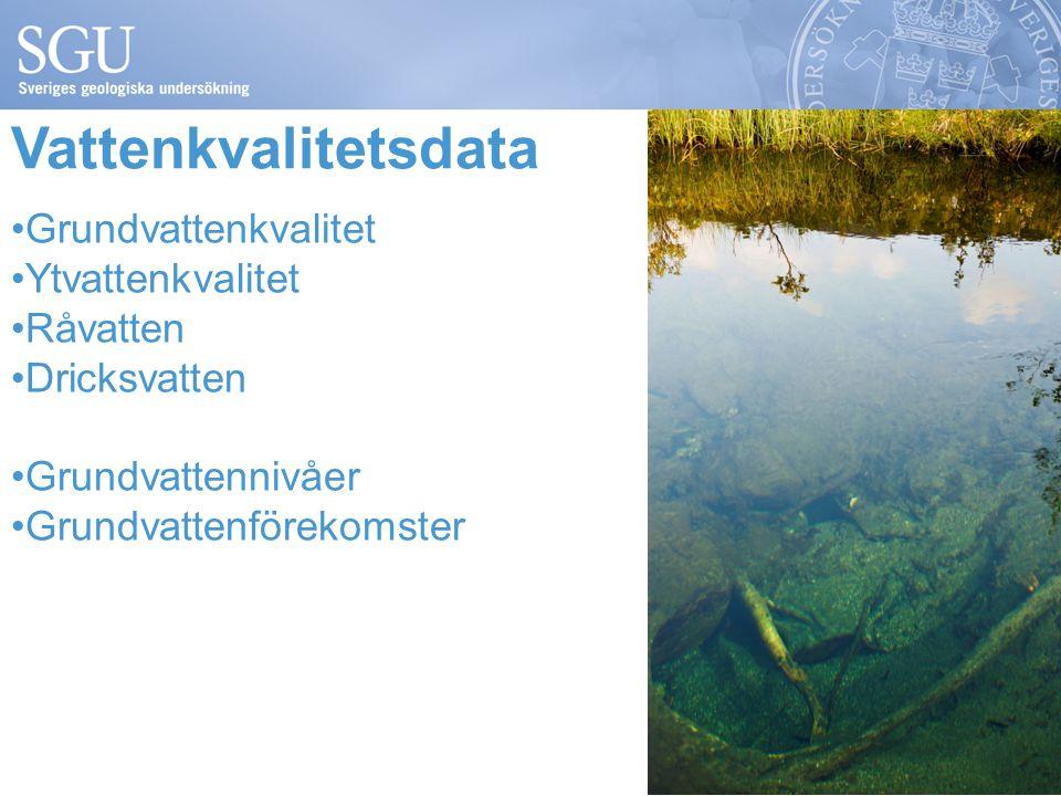 Vattenkvalitetsdata Grundvattenkvalitet Ytvattenkvalitet Råvatten Dricksvatten Grundvattennivåer Grundvattenförekomster