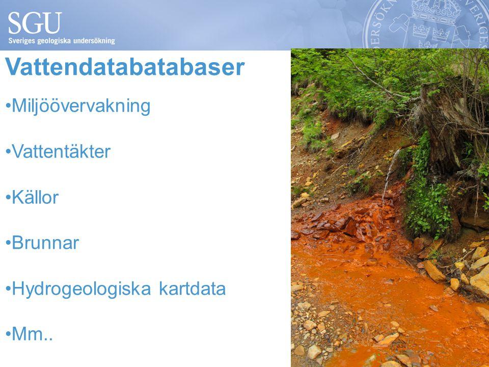 Vattendatabatabaser Miljöövervakning Vattentäkter Källor Brunnar Hydrogeologiska kartdata Mm..