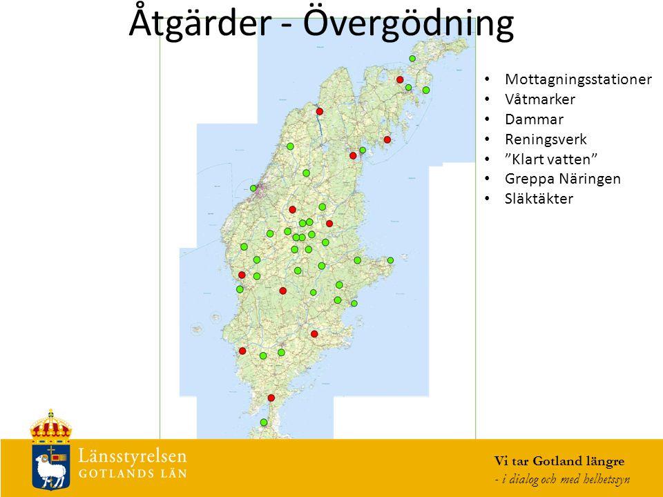 Åtgärder - Övergödning Vi tar Gotland längre - i dialog och med helhetssyn Mottagningsstationer Våtmarker Dammar Reningsverk Klart vatten Greppa Näringen Släktäkter