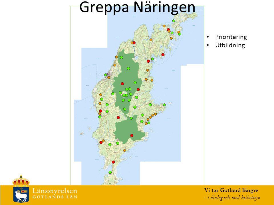 Greppa Näringen Vi tar Gotland längre - i dialog och med helhetssyn Prioritering Utbildning