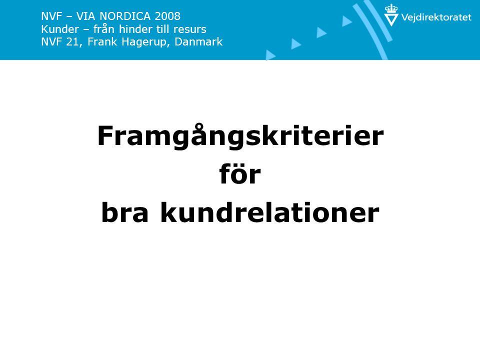 NVF – VIA NORDICA 2008 Kunder – från hinder till resurs NVF 21, Frank Hagerup, Danmark Framgångskriterier för bra kundrelationer