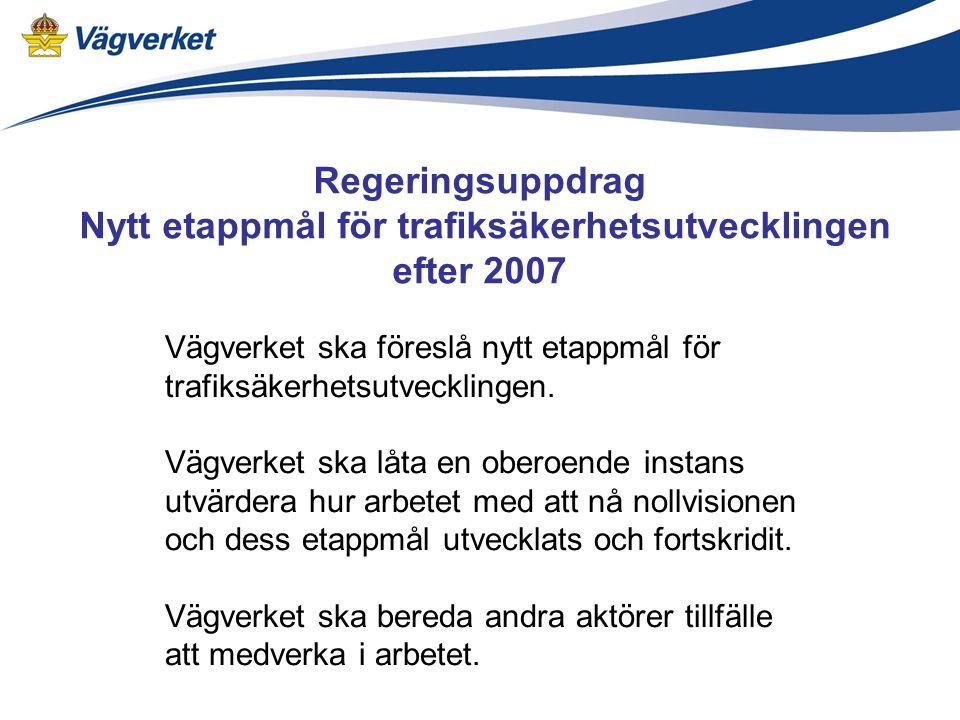 Regeringsuppdrag Nytt etappmål för trafiksäkerhetsutvecklingen efter 2007 Vägverket ska föreslå nytt etappmål för trafiksäkerhetsutvecklingen.