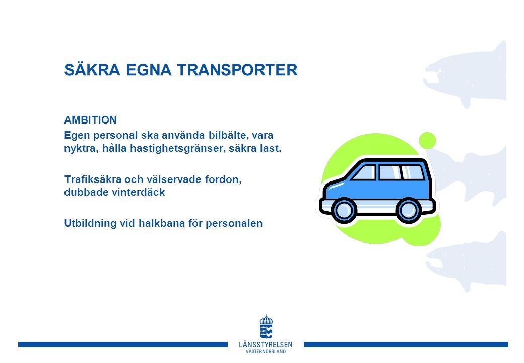 SÄKRA EGNA TRANSPORTER AMBITION Egen personal ska använda bilbälte, vara nyktra, hålla hastighetsgränser, säkra last.