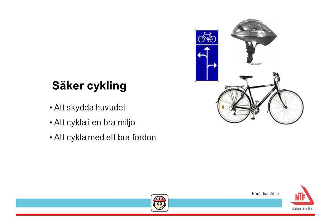 Säker cykling Att skydda huvudet Att cykla i en bra miljö Att cykla med ett bra fordon Föräldramöten