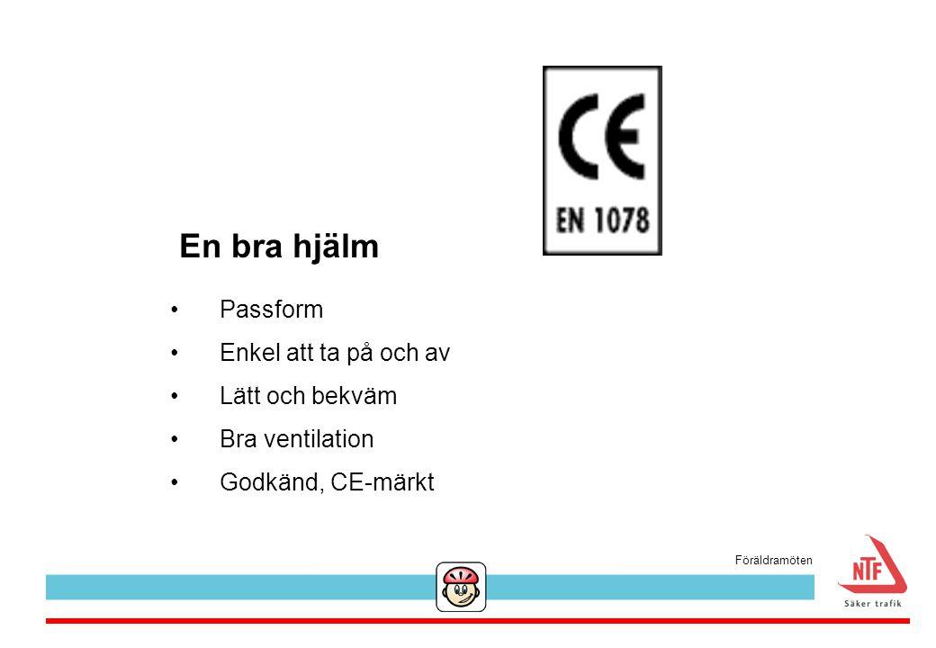 En bra hjälm Passform Enkel att ta på och av Lätt och bekväm Bra ventilation Godkänd, CE-märkt Föräldramöten