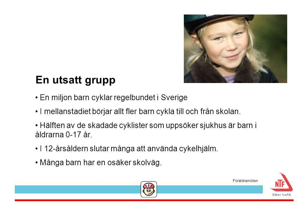 En utsatt grupp En miljon barn cyklar regelbundet i Sverige I mellanstadiet börjar allt fler barn cykla till och från skolan. Hälften av de skadade cy